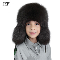 JKP2018 New Fashion warm Winter Protect your ears Hat real Fox Fur Boy Russian children bomber cap kid hats Free Shipping HT 30