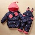2016 Set Roupas Crianças Macacão Terno de Esqui do Inverno das Crianças Do Bebê Meninas Para Baixo Casaco Quente Snowsuits Jackets + Calças jardineiras 2 pçs/set 0-5 T