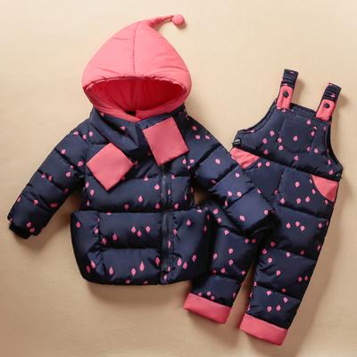 2016 ropa Para Niños Set Niños Traje de Esquí de Invierno Monos de los Bebés Abajo Cubre Caliente Snowsuits Chaquetas + Pantalones del babero 2 unids/set 0-5 T
