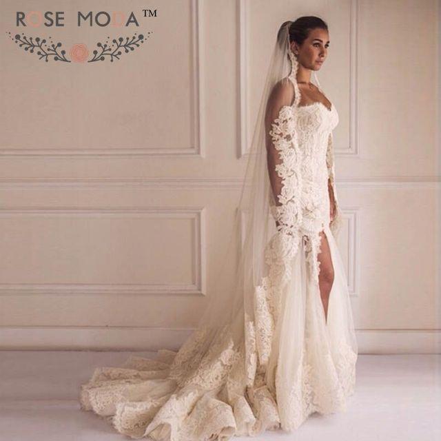 Schatz spitze Trompete Hochzeit Kleid mit High Slit 3D Blume Einbau ...