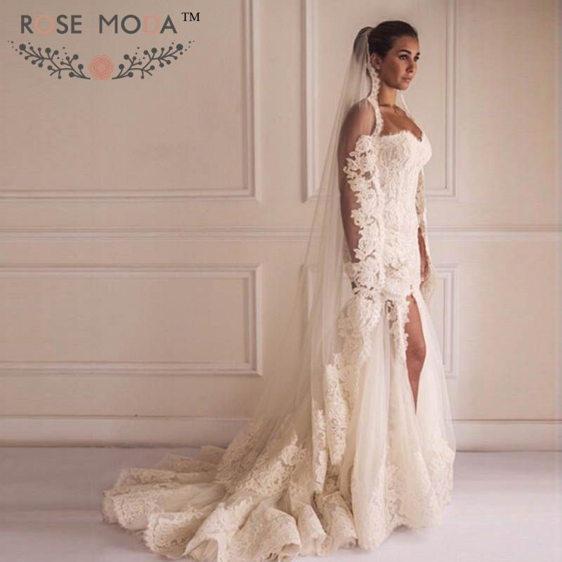 Sweetheart lace trumpet wedding dress with high slit 3d for Trumpet mermaid sweetheart wedding dress