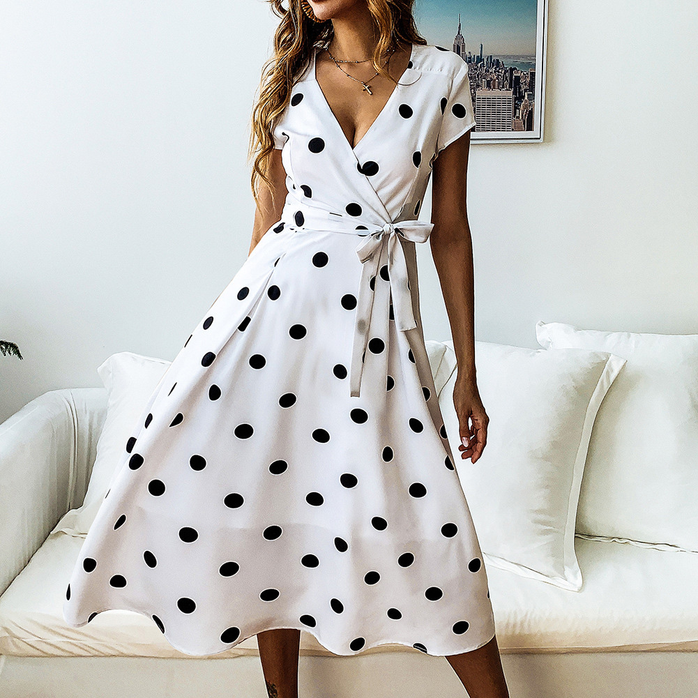 Evening Party Waist Belt Elegant Ladies Polka Dot Summer Short Sleeve Pleated A-line Women Dress Fashion V Neck Casual Flared