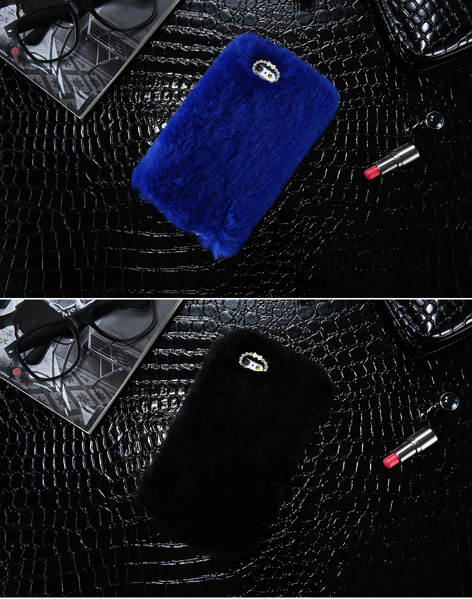 Rhinestone Bling Fluffy Rabbit Hair Case For iPhone 6 6S Plus BOB (2)