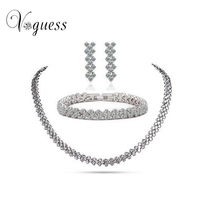 Luxury Roma Style Jewelry Set White Gold Plated AAA Swiss Cz Bridal Wedding Set Fashion Bracelets