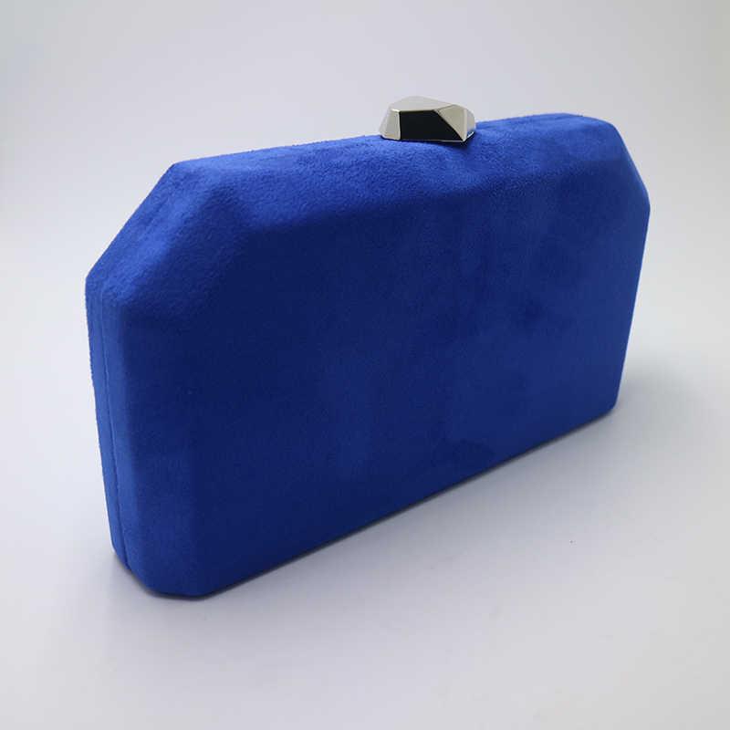 Kerajaan Nightingale Beludru Suede Keras Kotak Dompet Malam Tas Kopling Malam dan Tas untuk Wanita Kerajaan Biru Merah