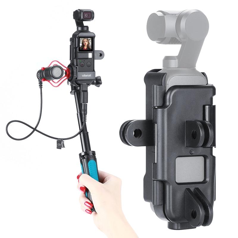 DJI Osmo Pocket Housing Case Frame Vlog Bracket Cold Shoe W 1/4 Tripod Selfie Stick Osmo Pocket Accessories For Bicycle Motovlg