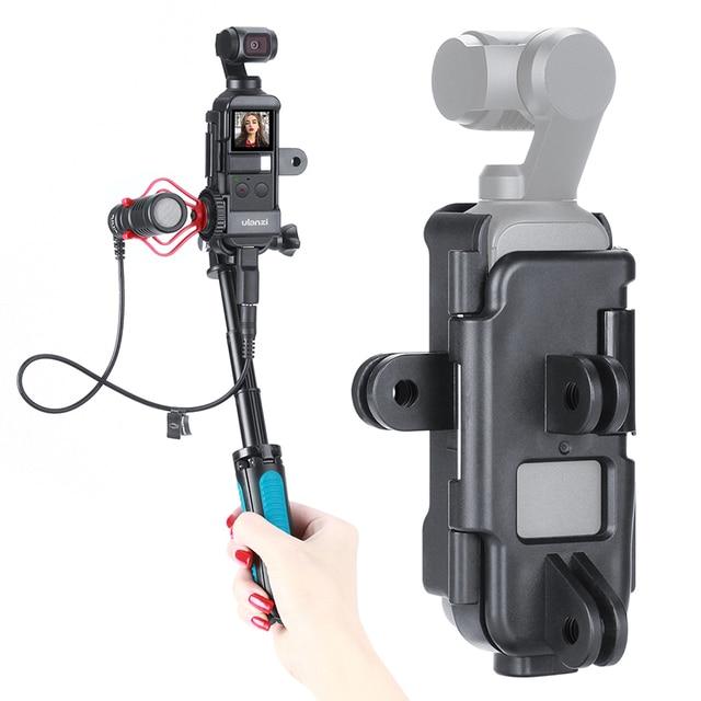 Dji osmo 포켓 하우징 케이스 프레임 vlog 브래킷 콜드 슈 w 1/4 삼각대 selfie 스틱 osmo 포켓 액세서리 자전거 motovlg