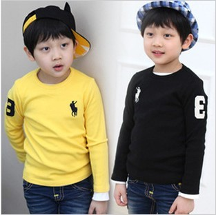 2014 children's clothing male female child 100% cotton long-sleeve basic shirt child o-neck casual long-sleeve T-shirt