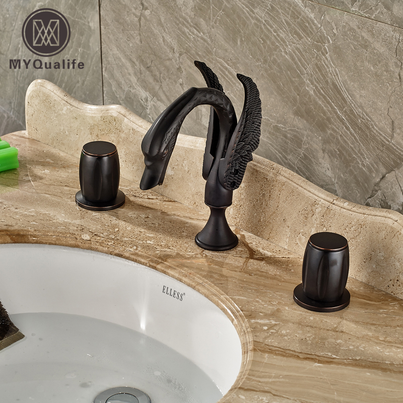 Oil Rubbed Bronze Classic Basin Faucet  Deck Mounted Black Swan Bathroom Mixer Taps Dual Handles allen roth brinkley handsome oil rubbed bronze metal toothbrush holder