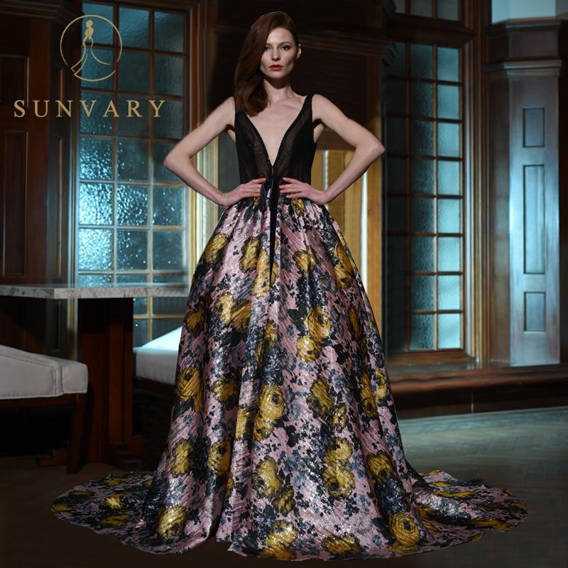 Sunvary Custom Vintage Floral Celebrity Dress Plus Size V neck Party Gown  Backless Aline Floor length Cannes Red Carpet Dresses -in Celebrity-Inspired  ... 220ddd382552