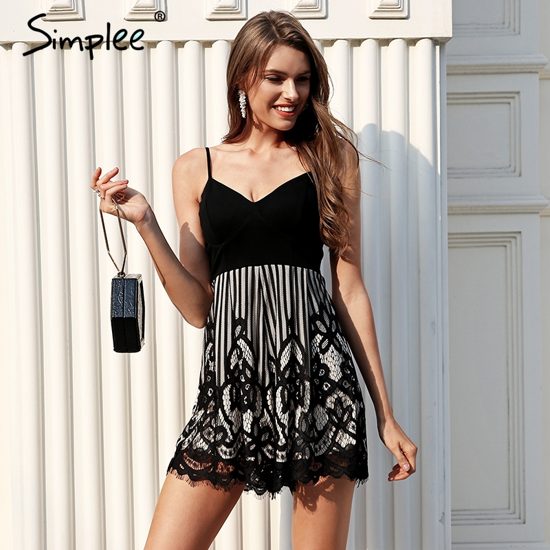 Simplee Sexy V Neck Black Lace Romper Women Strap High Waist Short Jumpsuit Backless Summer Playsuit Elegant Macacao Feminino
