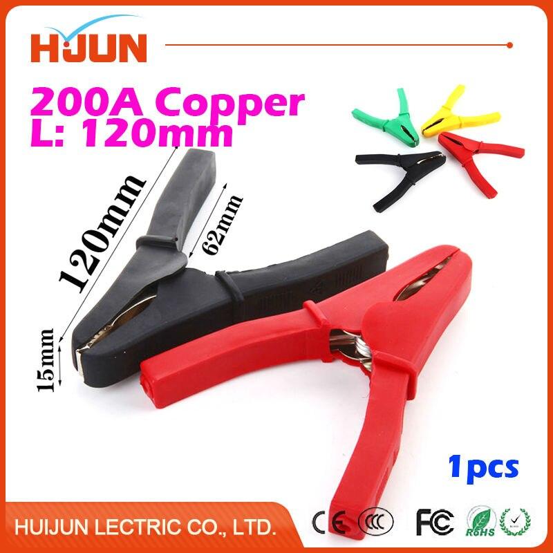 1 unids/lote 200A 120mm cobre alambre del Cable del Clip del cocodrilo Clips de cocodrilo de la batería eléctrica del probador de la abrazadera del coche Doble composición