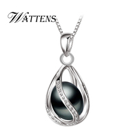 WATTENS Promotion Black Pearl Pendant AAAA trendy natural pearl necklace & pendant ,black pearl necklace for women pearl jewelry