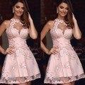 Dressgirl Rosa Vestidos de Coctel 2017 A-línea de Alta Cuello Opacidad Apliques de Encaje Sexy Short Mini Vestidos de Fiesta