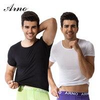 2 מארז Pcs ארנו Camiseta חולצה O-צוואר שמלת חולצה גופיית גברים Hombre 95% סקסיות כותנה לבנה שחור M-2XL, T50102-2L
