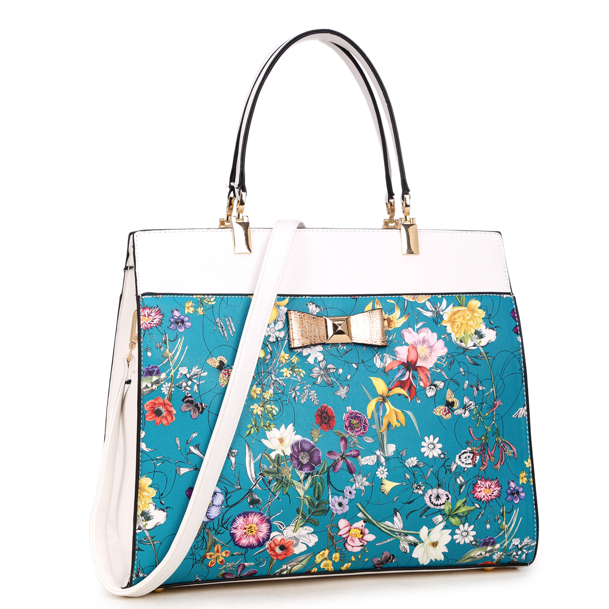 Dasein Faux Leather Satchel with Flowery Design and Gold Accent Bow retro women s satchel with engraving and fringe design