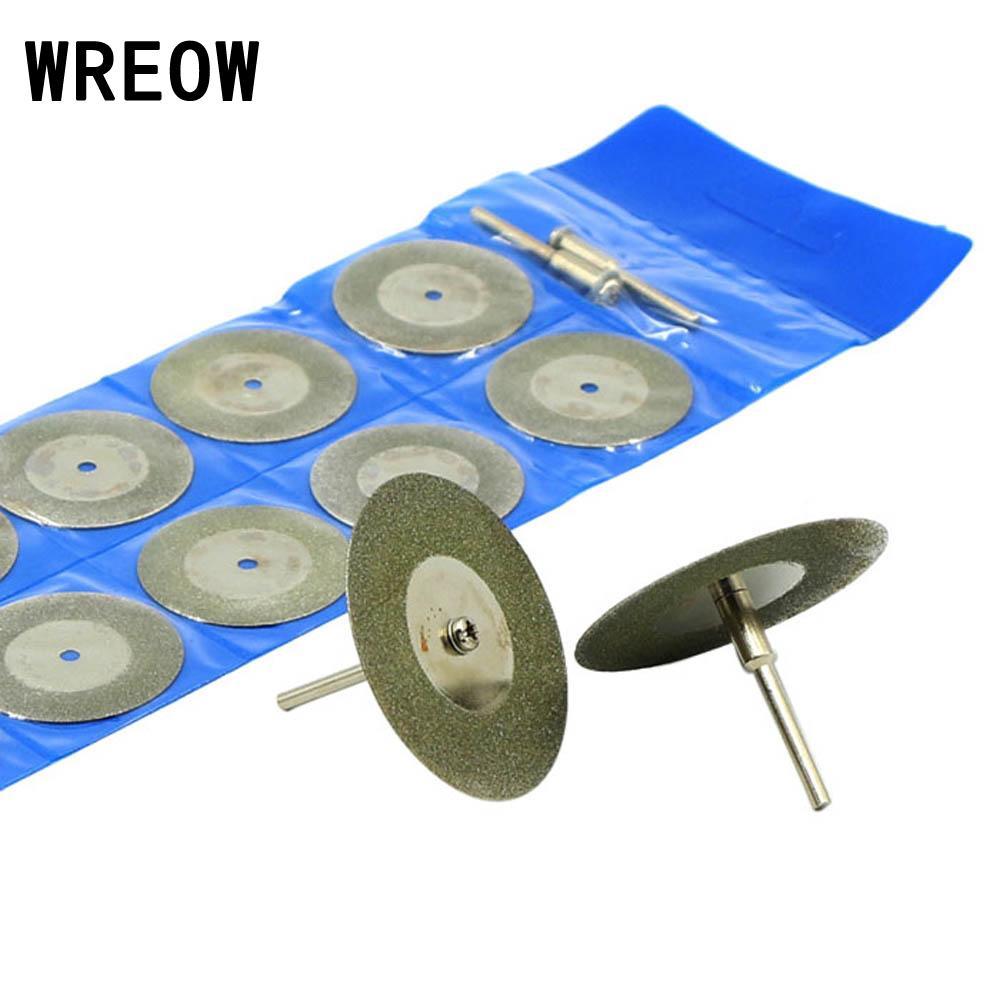 10Pcs Diamond Cutting Discs 50mm 2 Inch Coated Electroplated Rotary Cutting Discs Cut Off Blade Wheels+2pcs 3mm Shank Mandrels