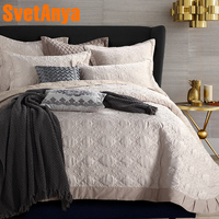 Svetanya quilted Quilt thick bed Sheet 230x250cm+pillowcases set bedspread stiching Bedcover beige Coverlet