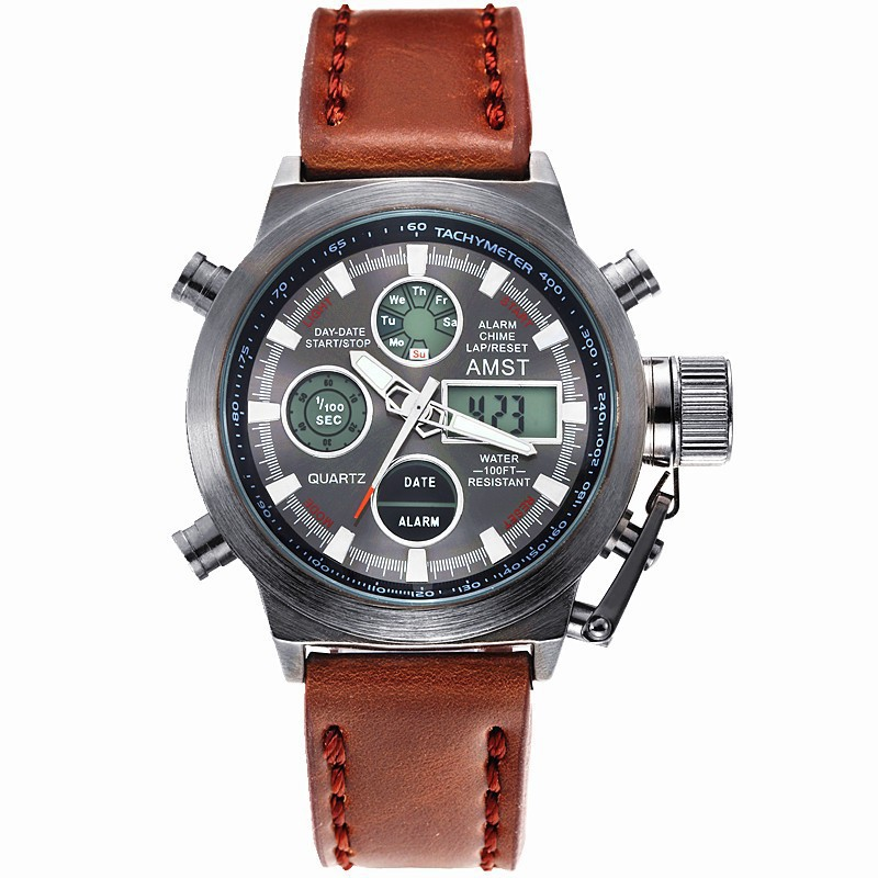AMST Merk Heren Horloges Mode Casual Quartz-horloge Digitale Display Sport Waterdichte Relogio Masculino Herenhorloges AMST 3003