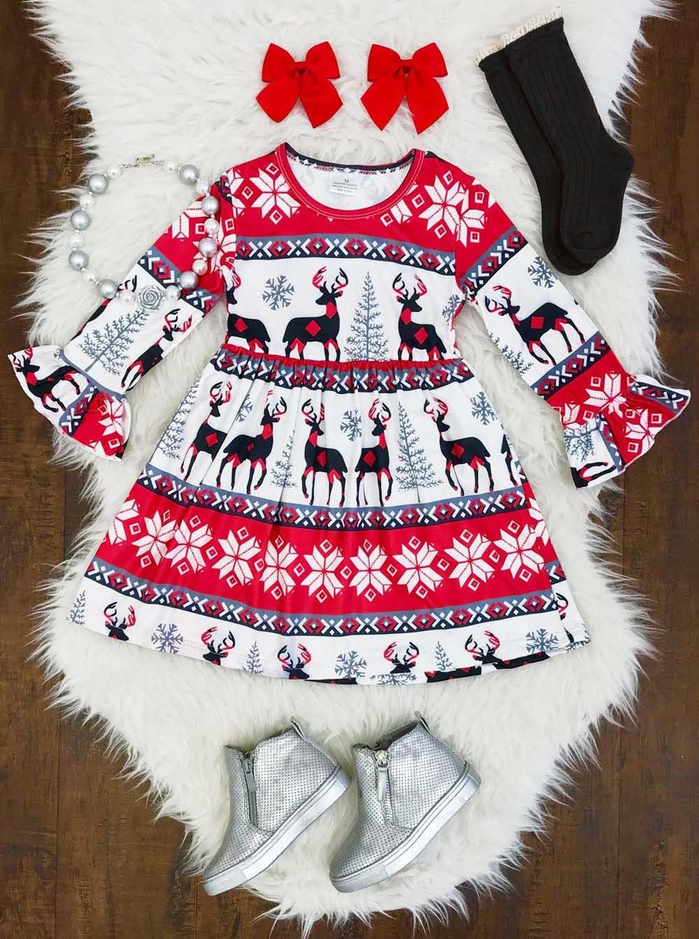 Toddler Infant Baby Kid Girls Christmas XMAS Cartoon Deers Print Dresses Outfits