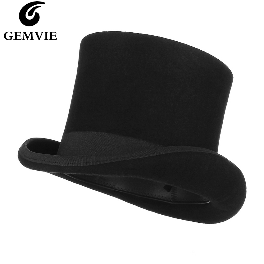 GEMVIE 17cm 100% Wool Felt Beaver High Top Hat Topper Derby Cylinder Hat For Women Men Mad Hatter Party Costume Magician Cap