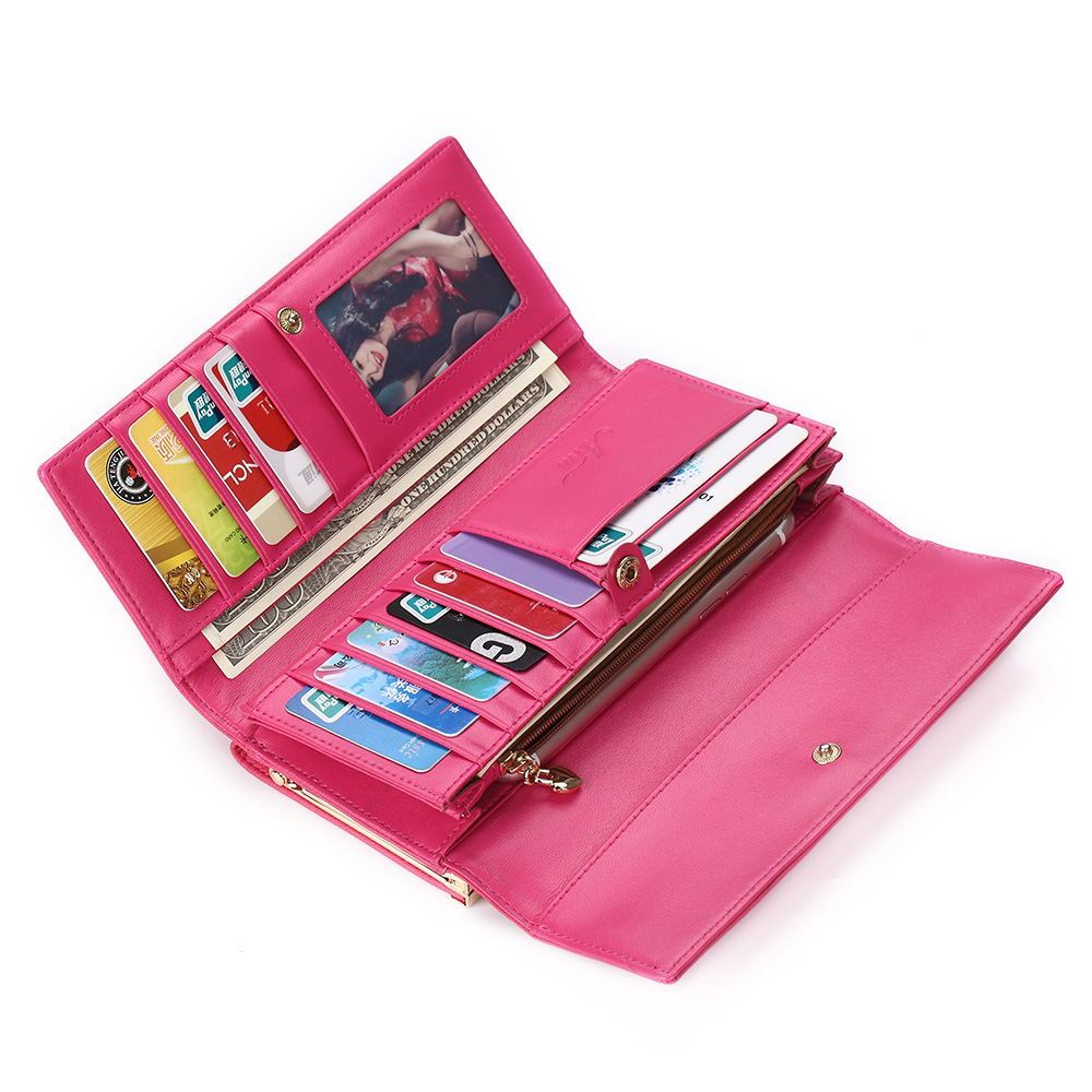 2017 New Women Wallets Genuine Leather High Quality Long Design Clutch Split Leather Wallet Fashion Female Purse N121