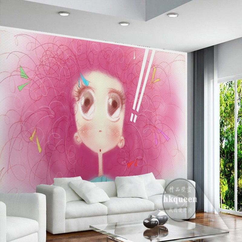 Free Shipping 3D Pink cartoon wallpaper cute little girl children ...
