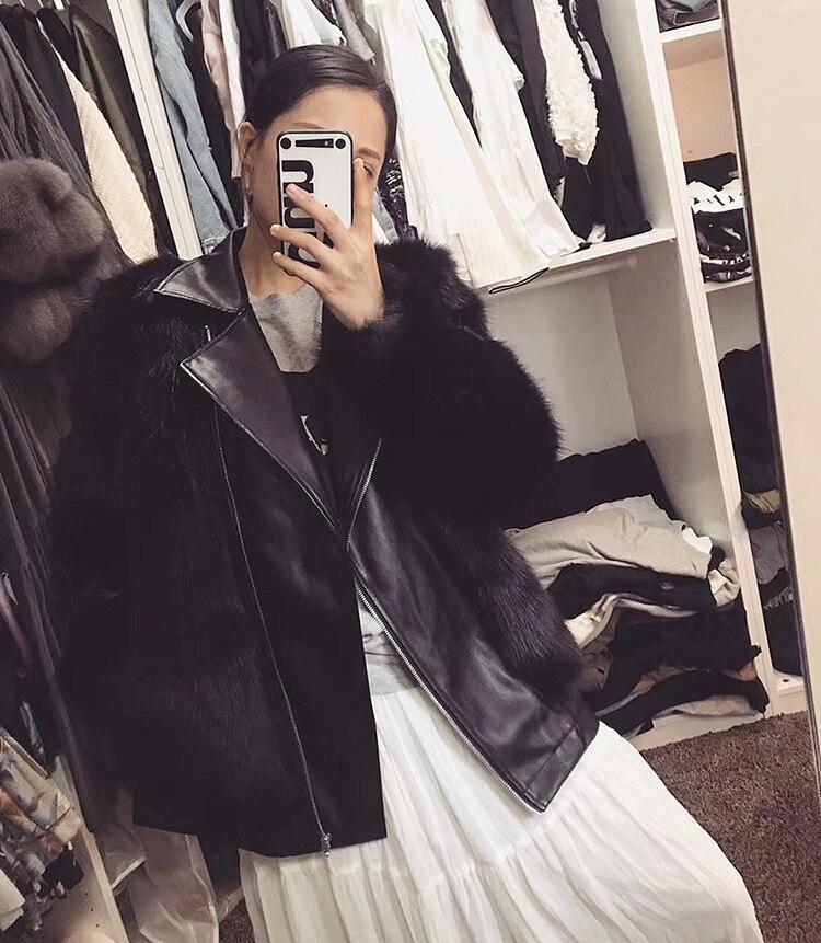 Mode Leatheer Splice Getsring Col Faux En Manteaux down Femmes Fourrure Noir Femme Manteau Black Veste Turn Tops Pu Fausse 2018 Nouveau g7gxTwPq