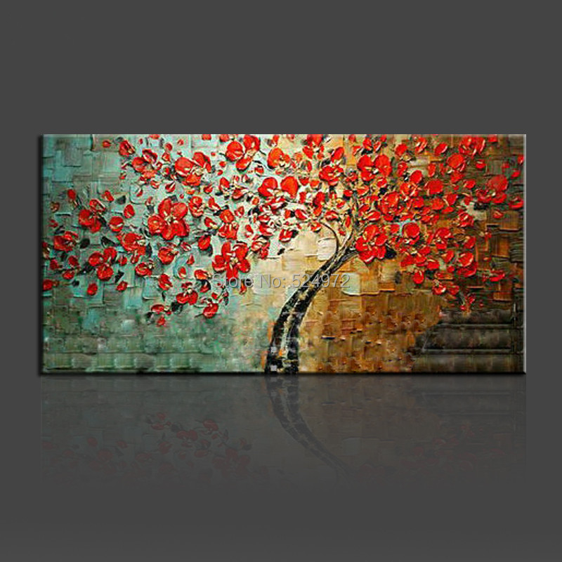 Handpainted modern home decor wall art picture for living room red flower thick palette font b