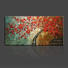Handpainted modern home decor wall art picture for living room red flower thick palette knife oil painting on canvas no frame