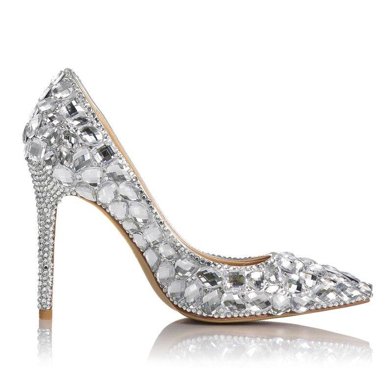 Femmes pompes chaussures de mariage strass en cuir véritable 11 CM mince talons hauts Bling parti strass chaussures