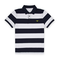 Mens Bee Embroidered Knit Striped Short Sleeve Polo Shirts