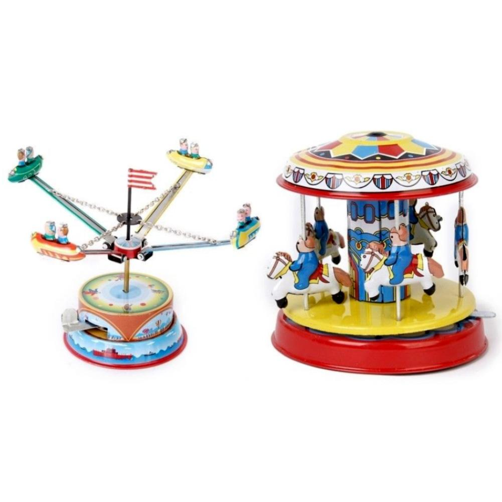2Pcs Wind Up Clockwork Carousel Rotating Spacecraft Art Crafts Kids Collectible Toy