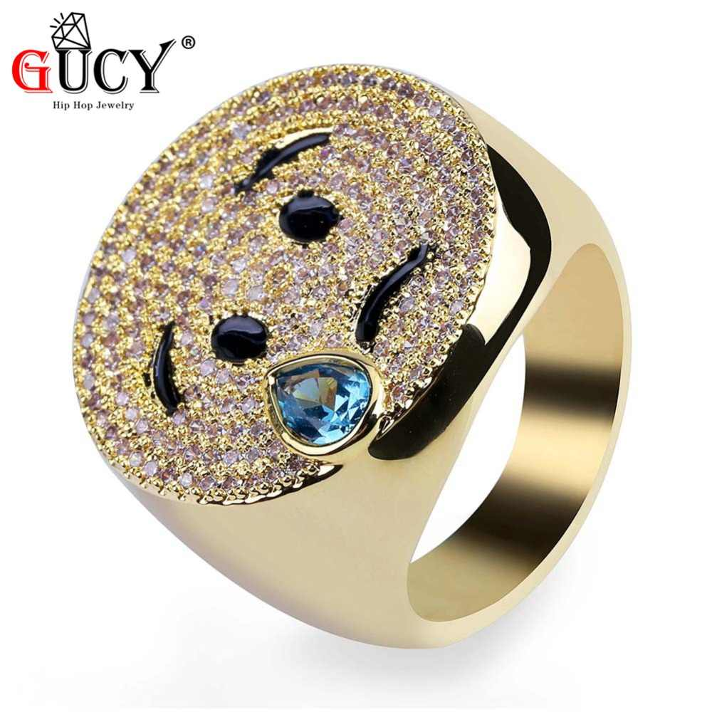 GUCY Hip Hop Emoji Weeping Face Ring Gold Silver Color Iced Out Micro Pave  CZ 4e2647ae6528