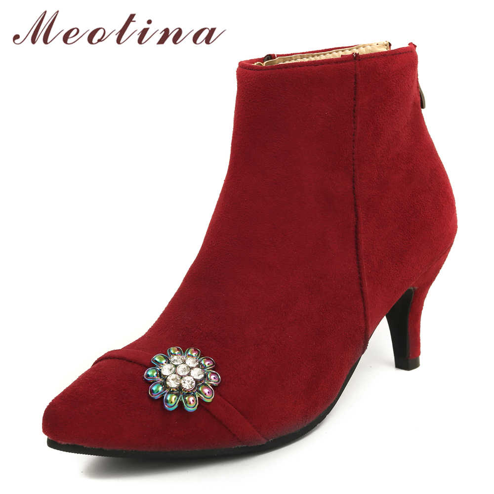 Meotina/женские ботильоны; зимняя обувь; полусапожки на высоком каблуке с острым носком; Сапоги на молнии со стразами и на шпильках; красный цвет; большие размеры 45, 46