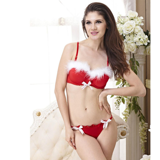 2f058e0a1c Christmas Gift Women Push Up Bra Set Sexy Lingerie 2 Color Red And Black  Have B