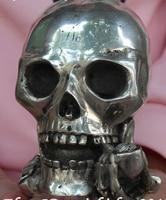 Украшения бронзовые заводские магазины тибетский серебряный китайский Серебряный Череп кости человеческий скелет голова смерти статуя дл