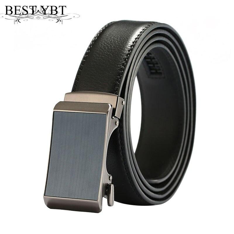 Best YBT Men PU leather belt high quality PU Alloy Automatic Men belt simple Business af ...