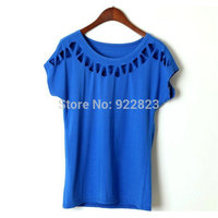 New 2013 Summer Retro Hollow Rivet Hole Elastic Slim Round Neck Short Sleeved T Shirt Free