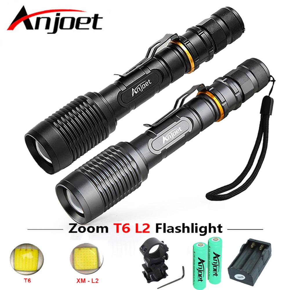 Anjoet juegos Tactical caza XML L2 LED linterna 5000 lúmenes 5 modo Super brillante luz antorcha telescópica Zoom 2x18650 + cargador
