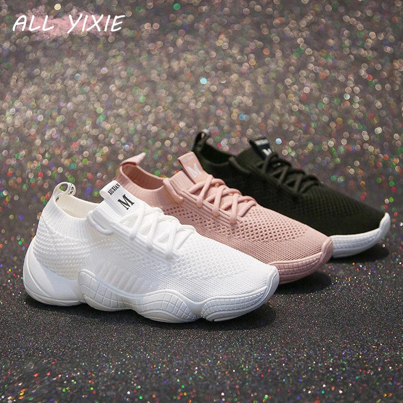 ALL YIXIE 2019 Fashion Spring Summer Wild White Breathable Women Sneakers Korean Sports Leisure Shoes Women Black Vulcanize Shoe