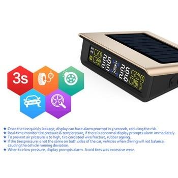 TPMS Bandenspanningscontrolesysteem TPMS Solar LCD 4 Externe Sensor Vervangbare Batterij Auto Draadloze PSI/BAR