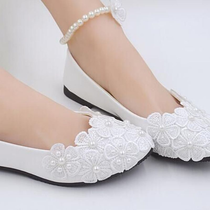 Custom White Red Lace Pearls Women Wedding Shoes Beautiful Foot Ring Flat Heels Big Size EU34 44 In Womens Flats From On Aliexpress