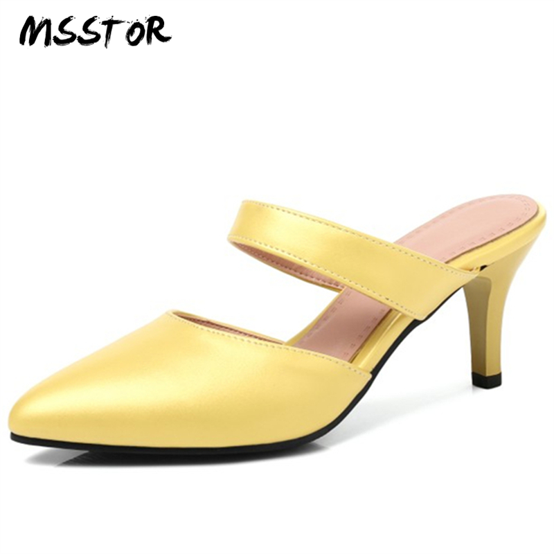 MSSTOR Pointed Toe Mules Shoes Yellow White Concise Rubber Hollow Thin Heels Outside Casual Slippers Women
