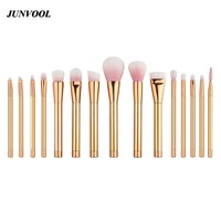 Rose Gold 15pcs Makeup Brushes Professional Set Foundation Blusher Powder Brush Set Eyeshadow Blending Eyebrow Make