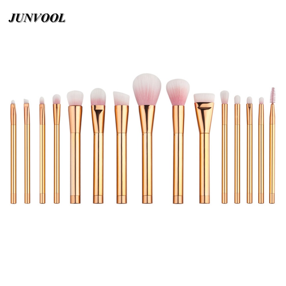 Rose Gold 15pcs Makeup Brushes Professional Set Foundation Blusher Powder Brush Set  Eyeshadow Blending Eyebrow Make Up Brushes lcbox professional 40pcs cosmetic makeup brushes set blusher eyeshadow powder foundation eyebrow lip make up brush with bag