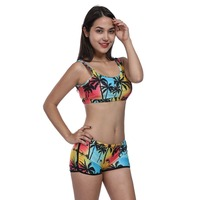 Retro Tankinis Women Bandage Swimsuit Tankini Sunset Coconut Palm 3D Printed Racerback Vest Tank Tops Bra