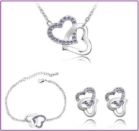 dubbele hart Tsjechische AAAA + steentjes mode ketting oorbellen - Mode-sieraden - Foto 3