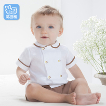 Baby Boy Clothes Summer Newborn Baby Boys Clothes Set Cotton Baby Clothing Suit (Shirt+Pants) Infant Clothes Set(0-4 Years) cheap jingle mallet Casual Turn-down Collar Sets Single Breasted T612116A Linen Short REGULAR Fits true to size take your normal size