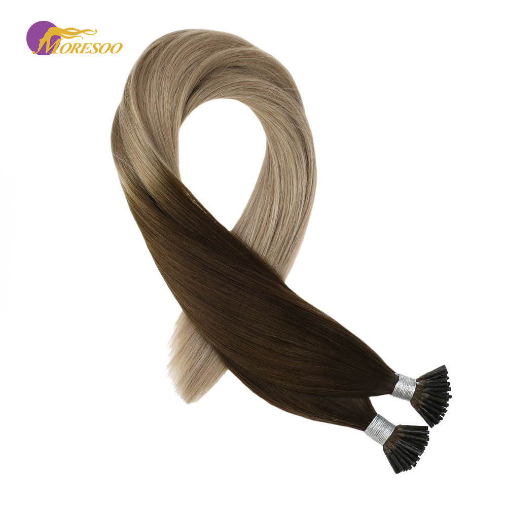 Moresoo Pre Bonded Hair Extension I Tip Human Hair Extension Ombre Color Brown #4 Fading To Ash Blonde #18 Remy Hair 0.8g/1s 40G